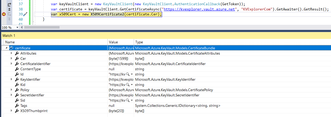AZIdentity | Azure Key Vault - Certificates and private keys